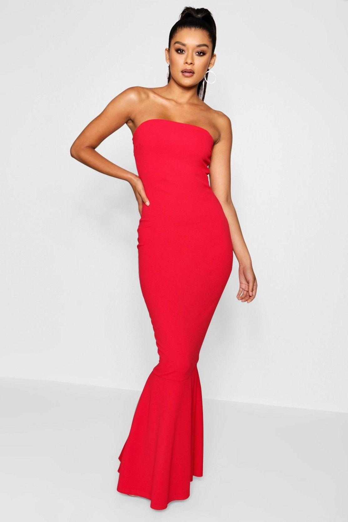 Bandeau fitted fishtail maxi bridesmaid dress boohoo