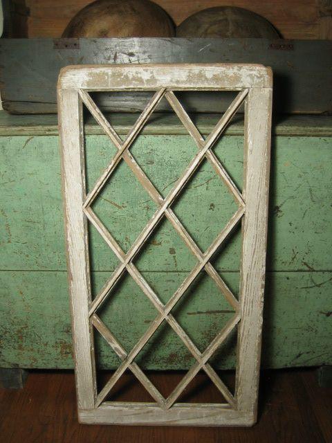 Old Wooden Criss Cross Design Farmhouse Window Frame