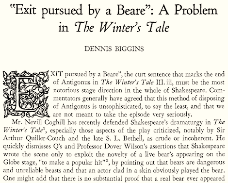"""Tom Levenson pursues the parlous question of Shakespeare's exiting bear. Levenson writesabout the bookVerdi's Shakespeare, by Garry Wills: There, in the first chapter, Wills made mention of Winter's Tale, and its alpha and omega of stage directions: """"Exit, pursued by bear."""" ... Wills tells me — laconically, first, in the body of his text, writing that """"when it [Shakespeare's troupe] had a young polar bear on hand, he wrote a scene stopper…"""" That was curious enough. A polar bear? In…"""