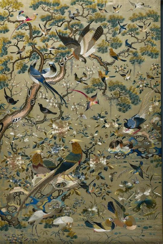 Chinese Embroidered Panel 1700s 1800s Embroidery Silk And
