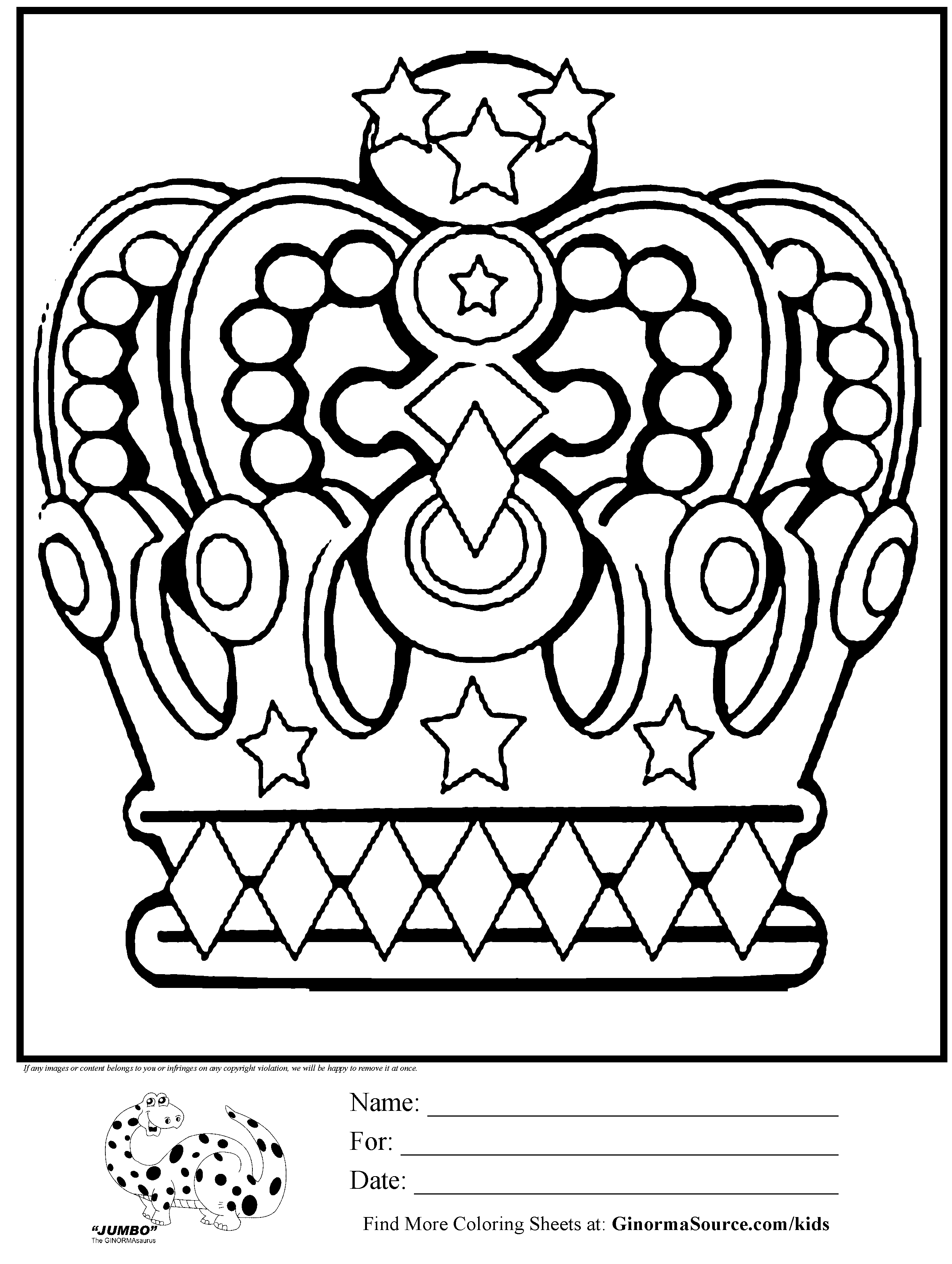 C is for Crown; coloring pages for other letters