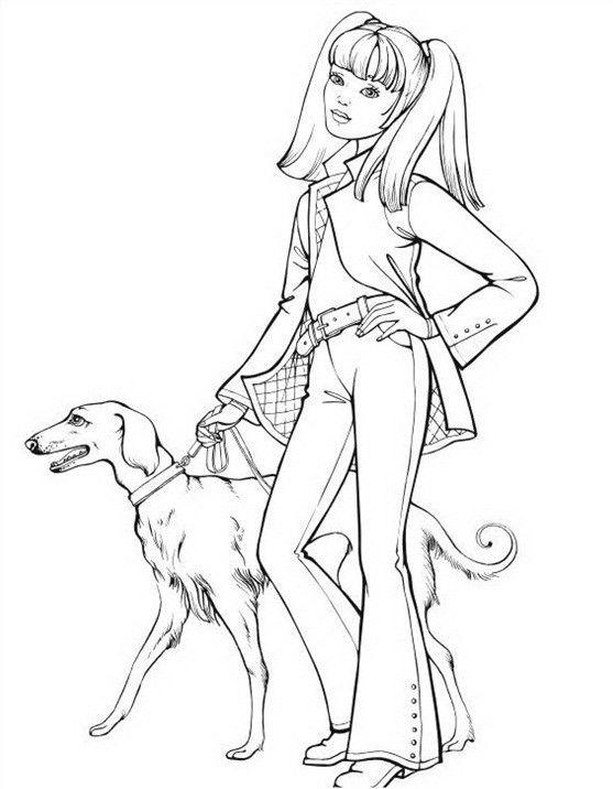 Topmodel 04 mit hunde  Ausmalbilder Barbie  Pinterest
