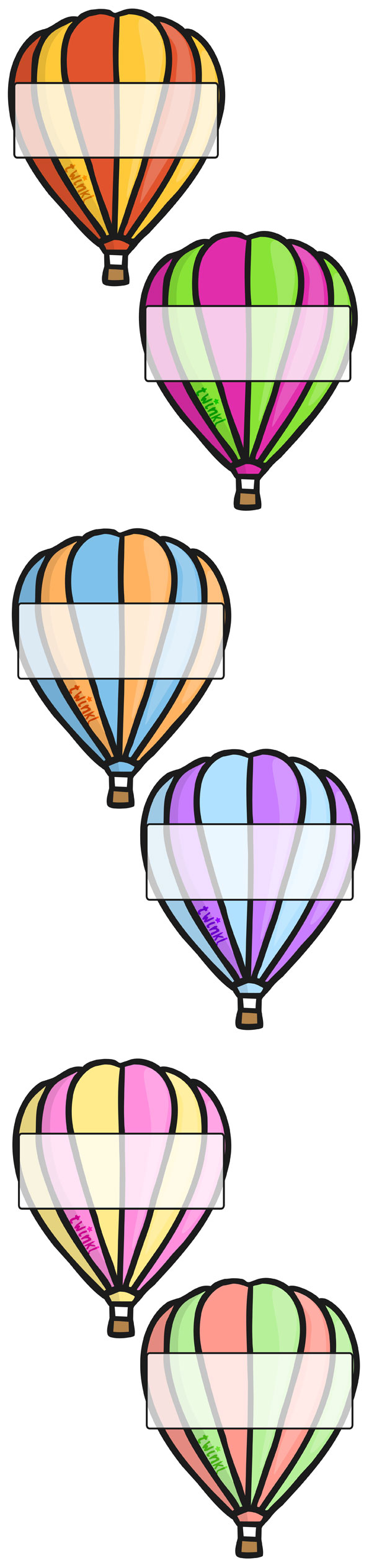 Bright image in printable hot air balloon