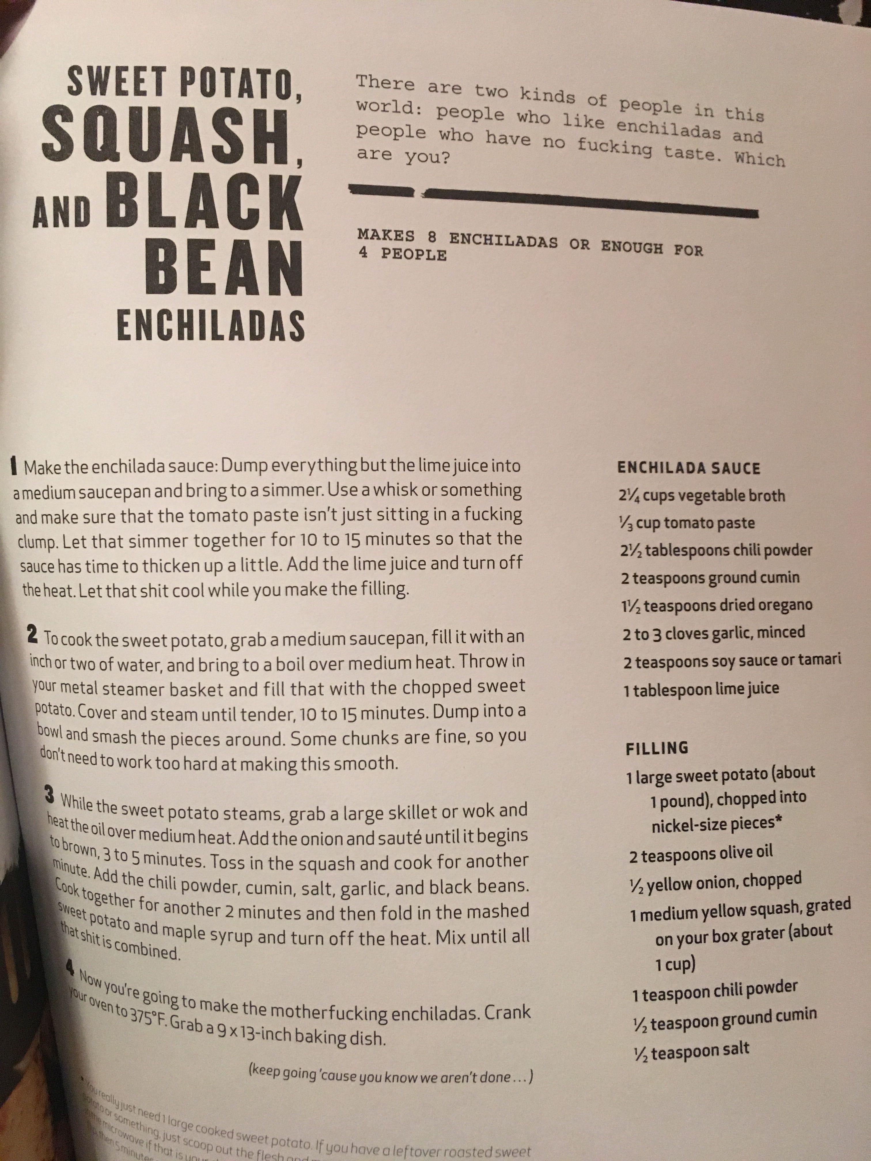 Sweet potato enchiladas - Thug kitchen | NOLS Kitchen- Winter ...