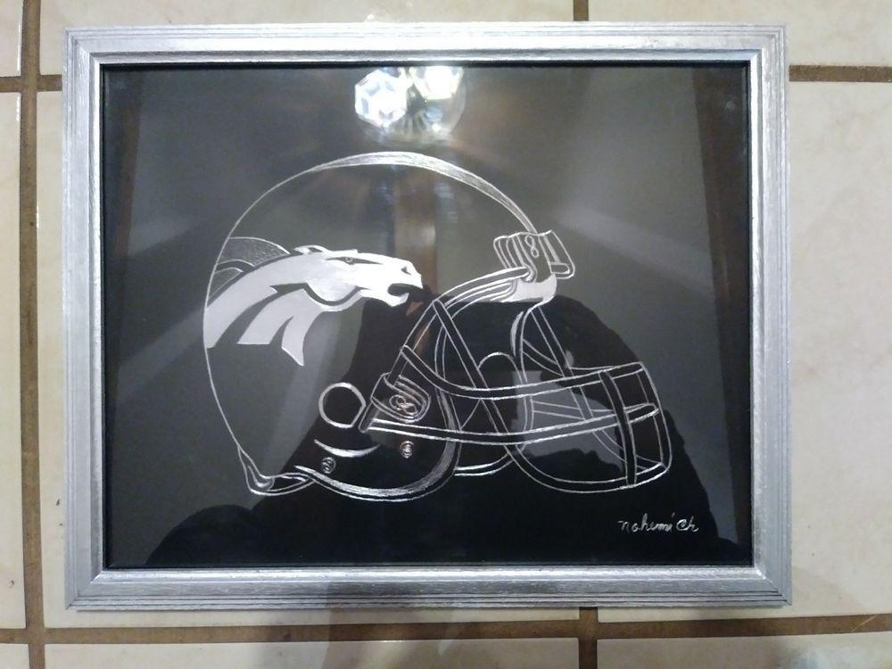 """FINE ALUMINUM SCRATCHED ART """"DENVER BRONCOS"""" NFL/AFC PAINTING ART DECO #ArtDeco"""
