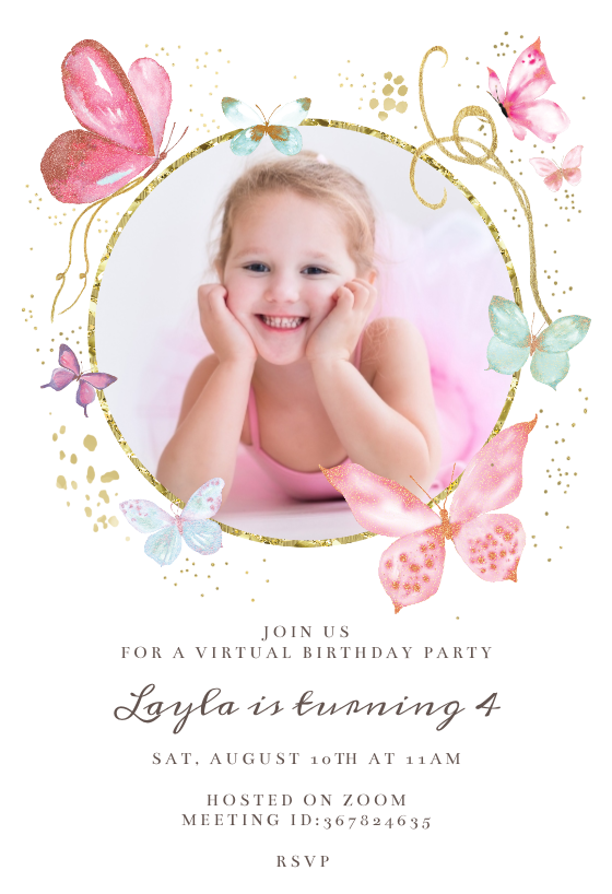 Magical butterflies photo Birthday Invitation Template
