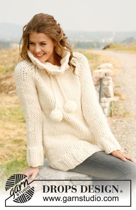 """Knitted DROPS jumper with raglan and large neck in """"Polaris"""". Size: S - XXXL ~ DROPS Design"""