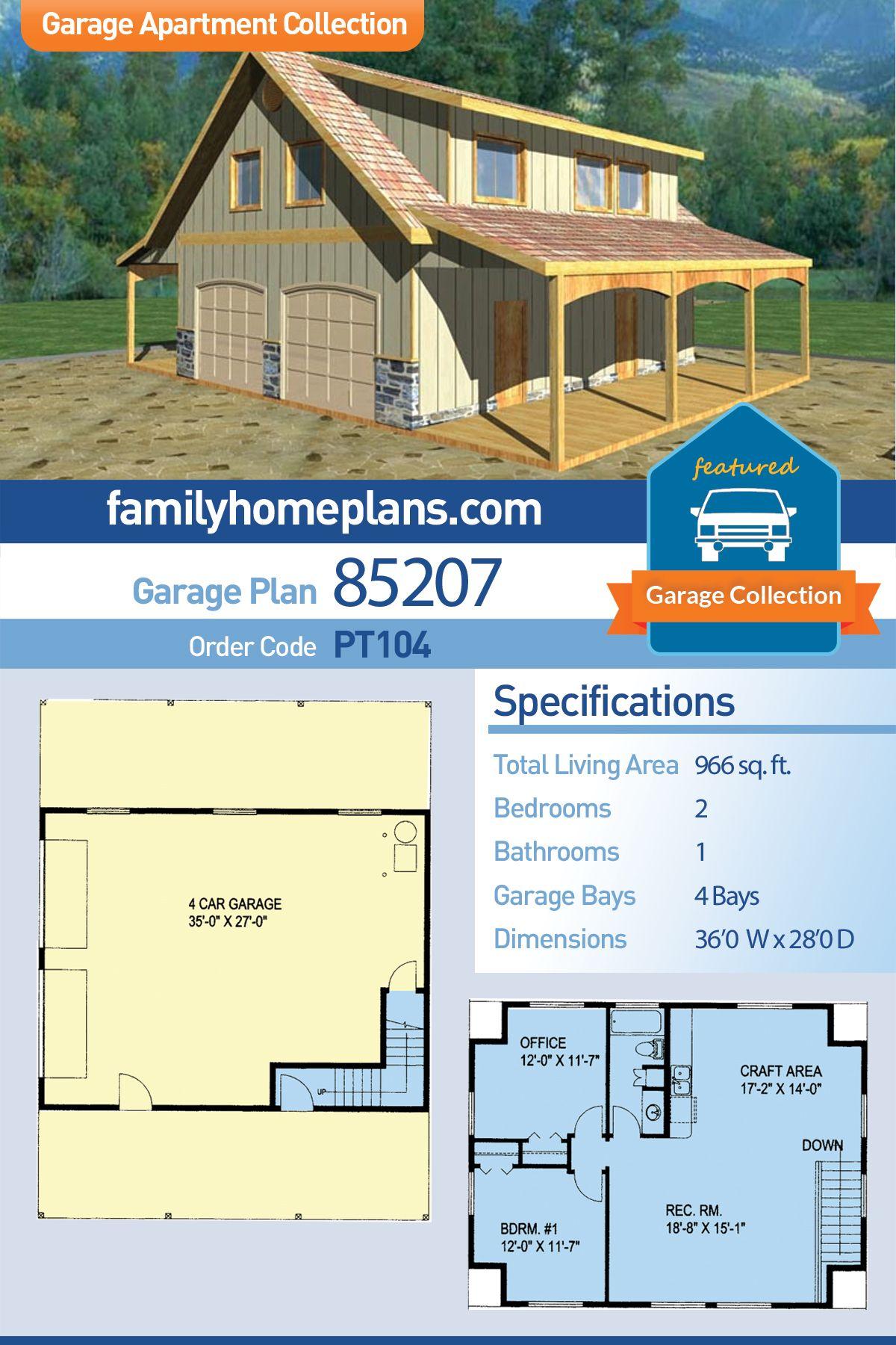 Southern Style 4 Car Garage Apartment Plan Number 85207 With 2 Bed 1 Bath Garage Apartment Plans Garage Apartment Plan Garage Apartments