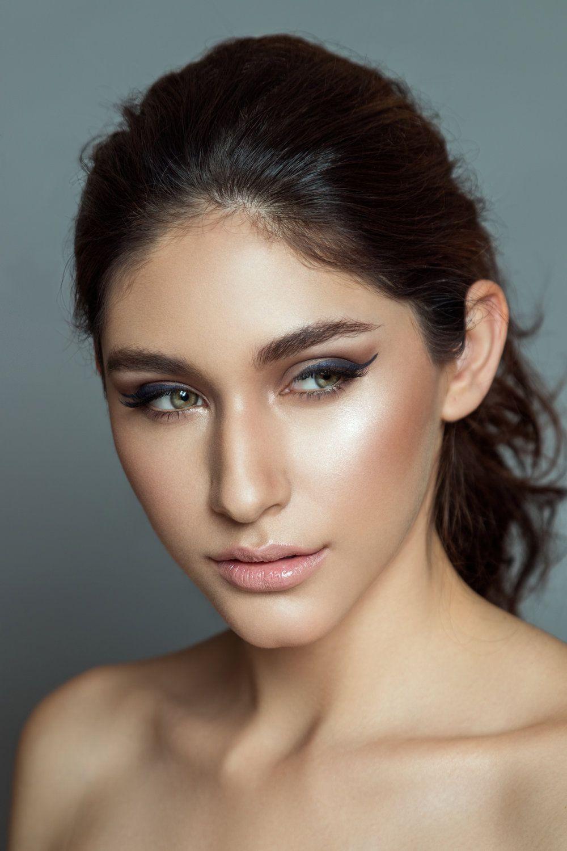 bridal makeup inspiration | photoshop, gray background, color