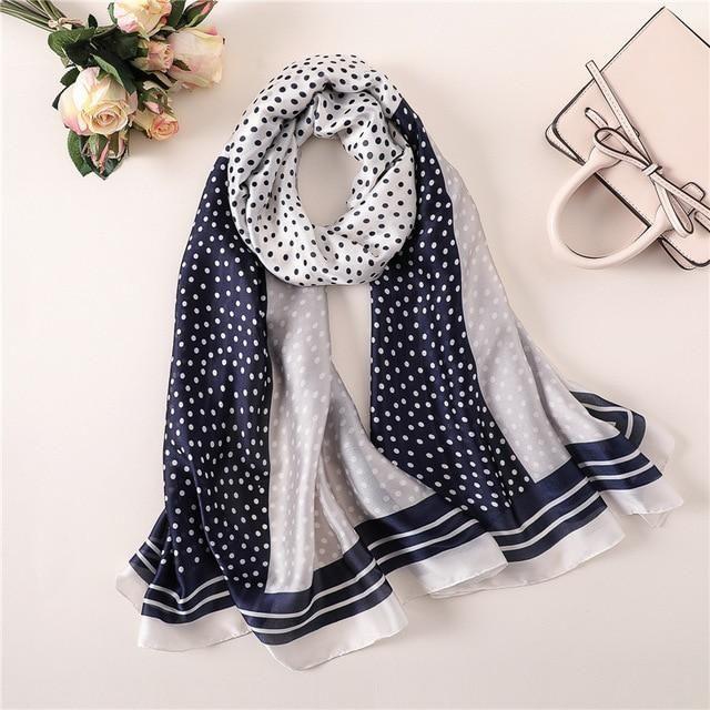 Silk Chiffon Scarf Women Summer Long Polkadot Foulard Gift wrapping