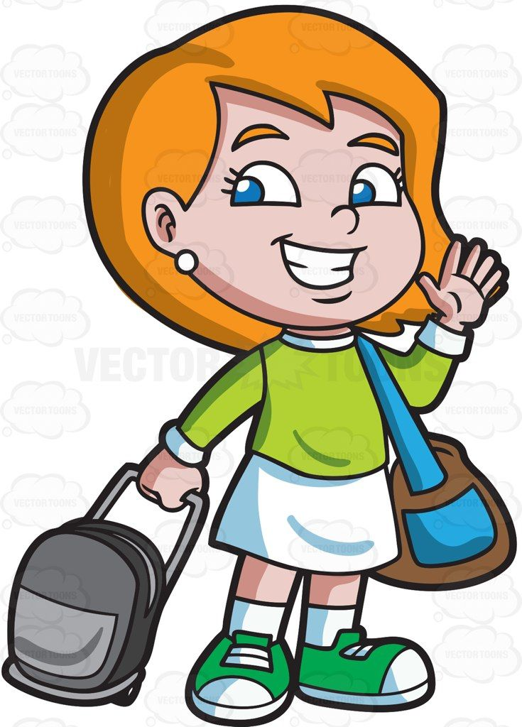 a girl saying goodbye before she travels brown bags white rh pinterest com goodbye clipart black and white goodbye clip art images