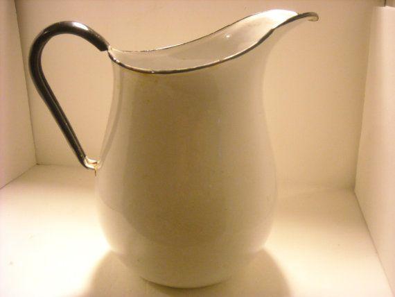 duck billed graniteware milk pitcher by jidesign on Etsy, $65.00