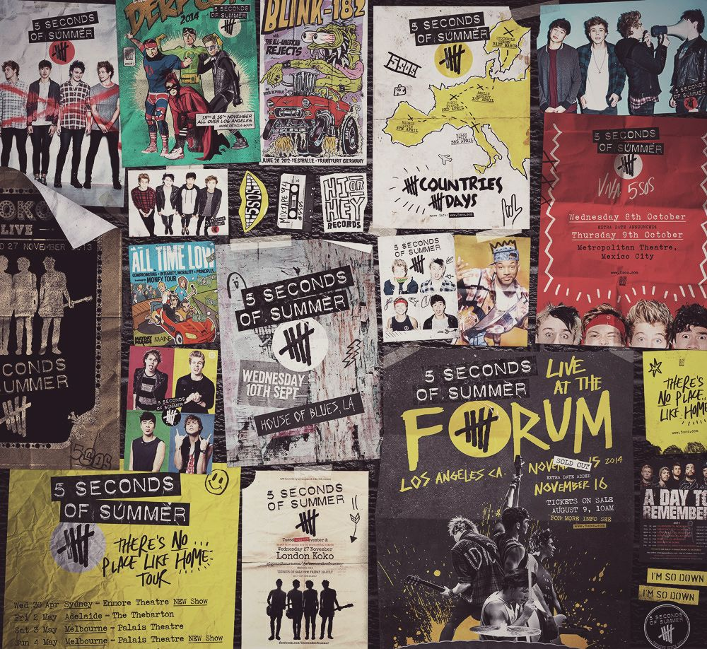 Bedroom wall with posters - 5 Seconds Of Summer Poster Wall