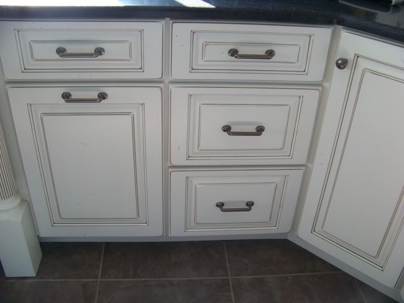 White Cabinets W/ Pewter Glaze