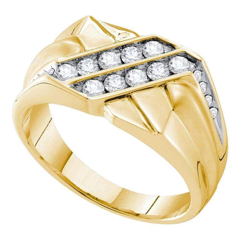 14kt Yellow Gold Mens Round Diamond Square Cluster Ring 5/8 Cttw – FREE Shipping