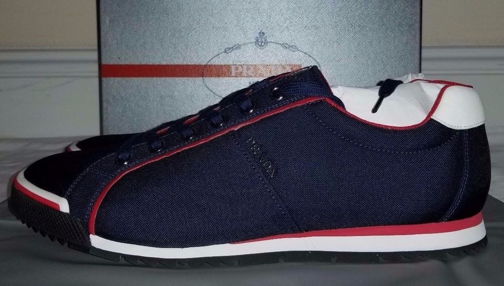 18a8fb23b3a5 ... reduced prada mens red white and blue leather and nylon sneakers size  12 prada athleticsneakers 40395
