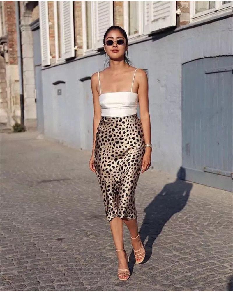 Fashion High Waist Leopard Midi Skirt Hidden Elasticized Waistband Silk Satin Skirts