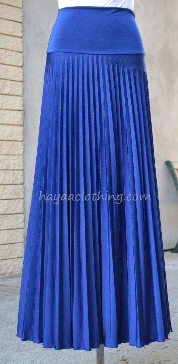 1654a1eeda Royal BLUE Pleated Long Maxi Skirts | Clothes | Long maxi skirts, Royal  blue skirts, Skirts