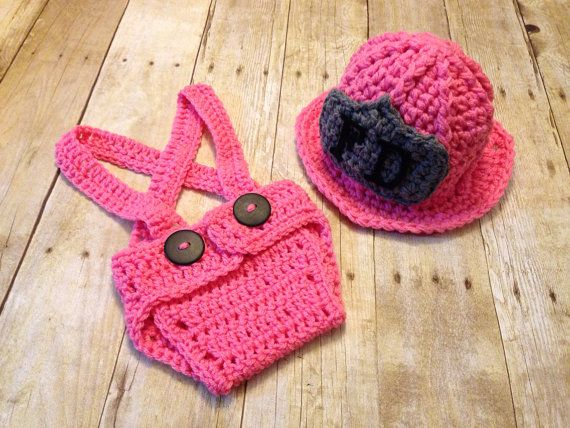 e3c89fca7 Crochet baby girl firefighter pink outfit, fireman's hat, newborn prop,  photo prop on Etsy, $35.00