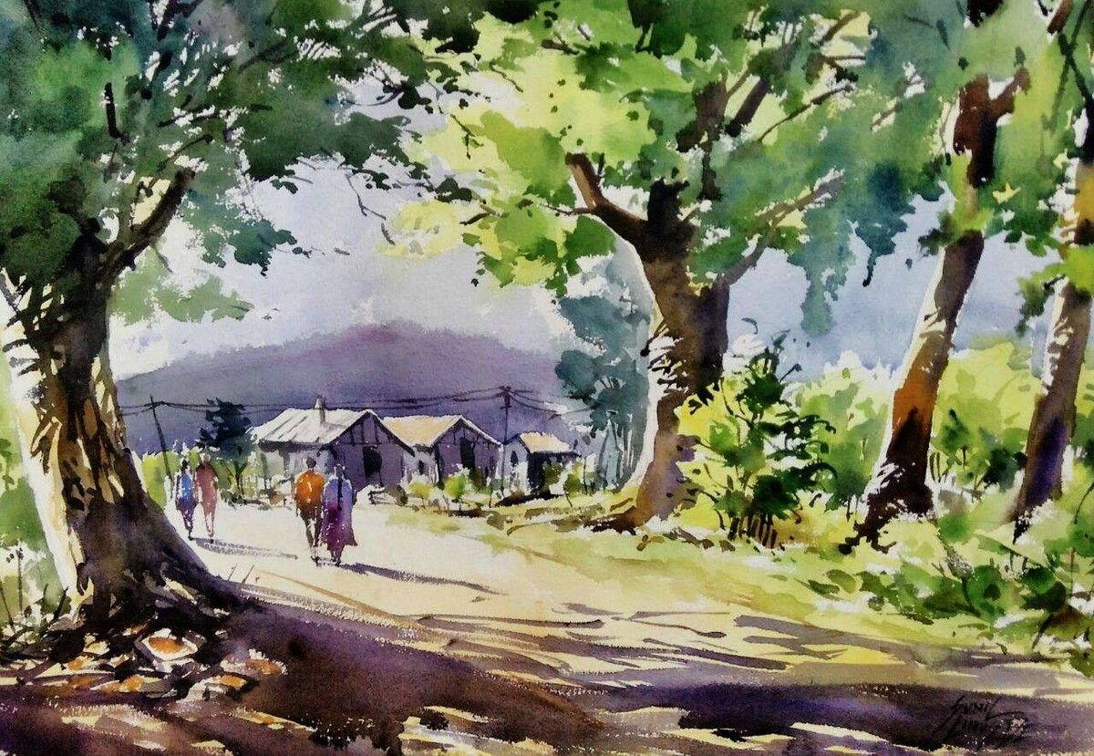 Village Scene Artwork