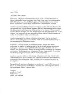 student teacher reference letter