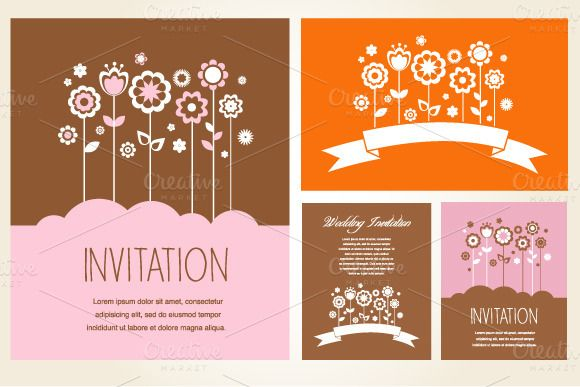Invitation and greeting card set by marish on creativemarket invitation and greeting card set by marish on creativemarket stopboris Choice Image