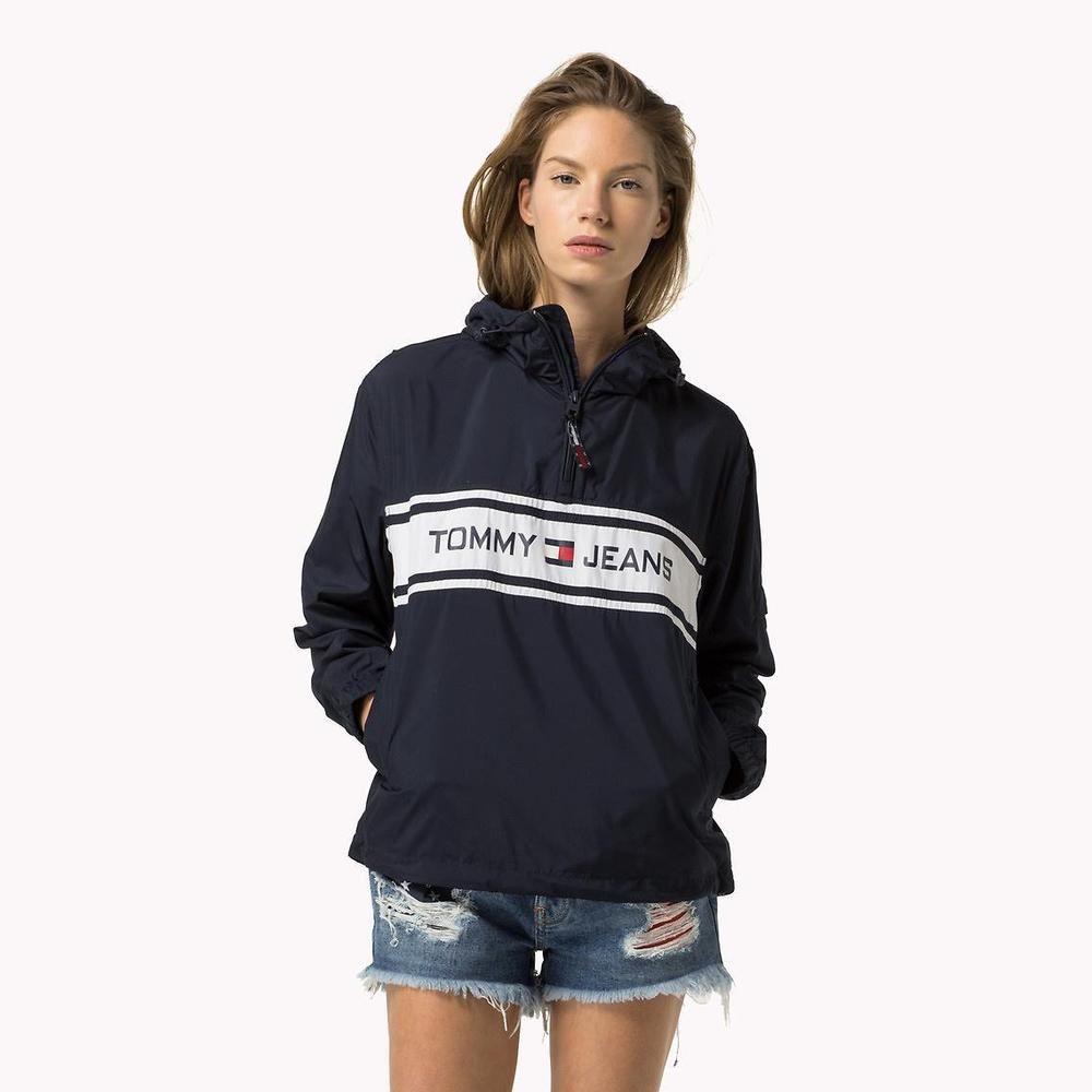 63b315106 Tommy Jeans Hilfiger Women's Blue Pop Over 90s Jacket Sweatshirt Vintage