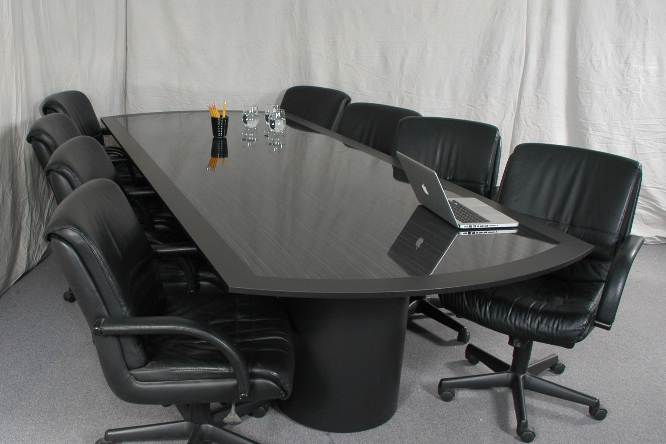 Long Rectangle Black Glass Conference Table Added By Black Leather - Black glass conference table