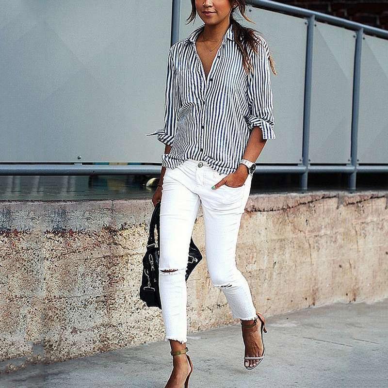 Photo of Elegant Casual Striped Long Sleeve Shirt