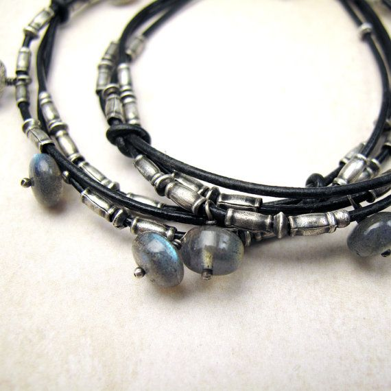 Intertwined Leather Choker with Silver and Flashy by BohBiJewelry, $96.00