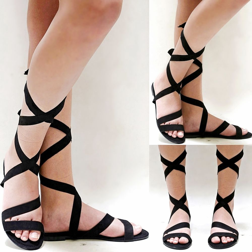 Black ribbon sandals - Details About New Women Bsc58 Black Ribbon Lace Wrap Gladiator Flat Sandals 5 5 To 10