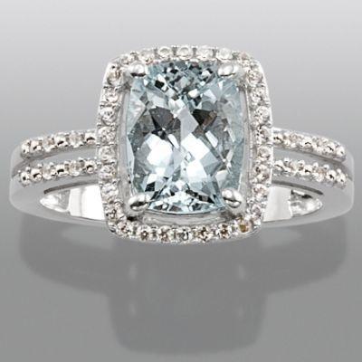 -Aquamarine & Lab Created White Sapphire Ring-Jewelry-Gemstones-Rings from Sears