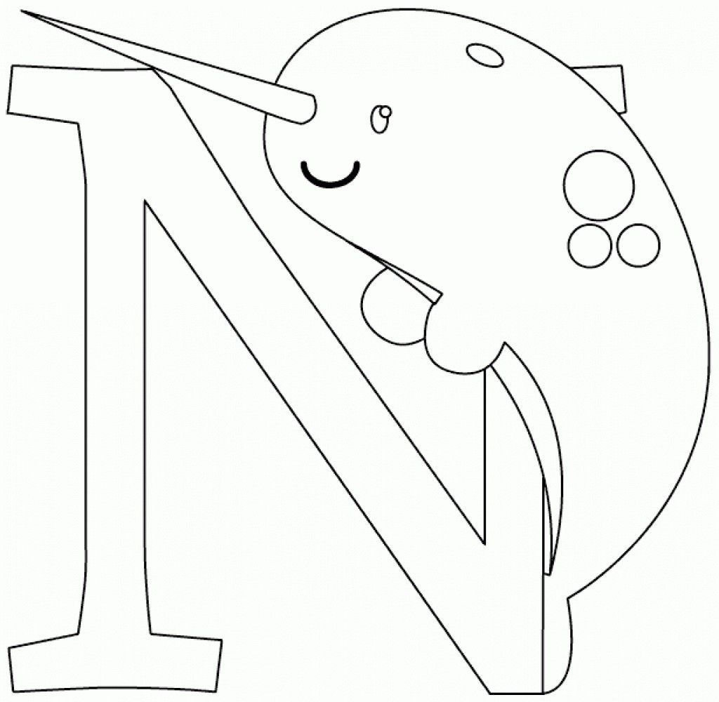 n is for narwhal coloring page for kindergarten kids animal