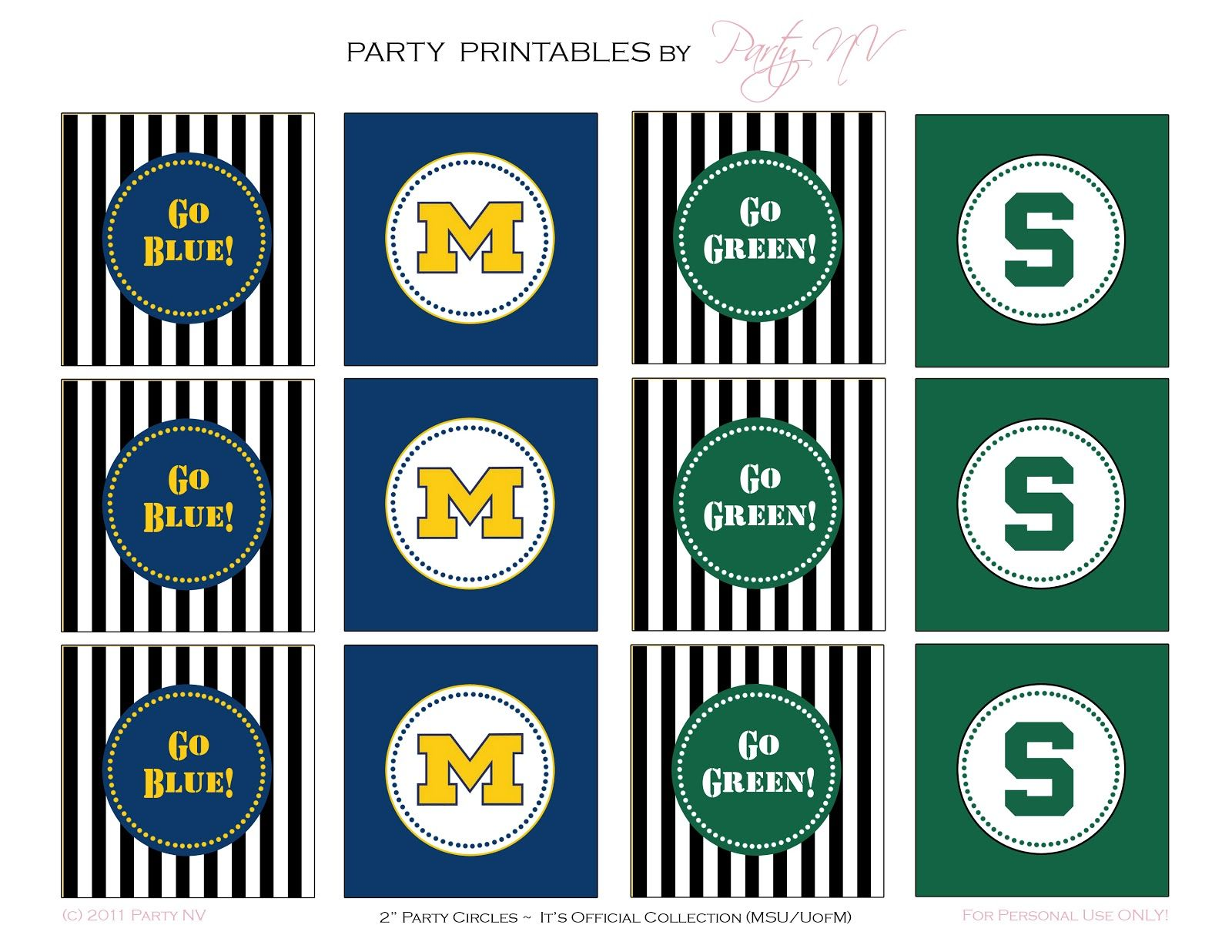 Free Printables Msu Vs U Of M Michigan Football Party Free Birthday Stuff Printable Cupcake Toppers Free