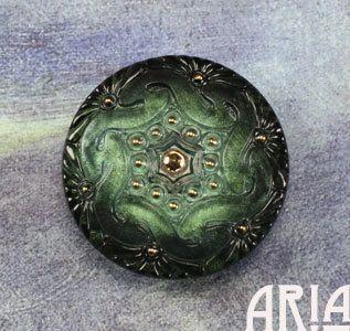 CZECH GLASS BUTTON: 41mm Lacey Twist Handpainted Czech Button, Pendant, Cabochon (1)