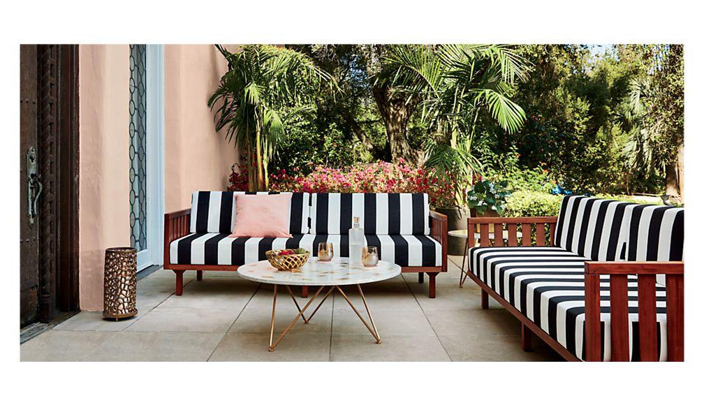 Tropez Black And White Stripe Outdoor Sofa Reviews Cb2