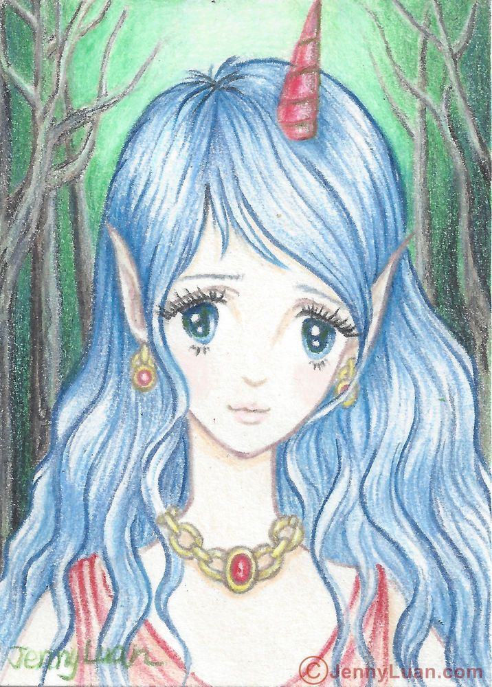 ACEO Original anime girl color pencil Drawing Unicorn