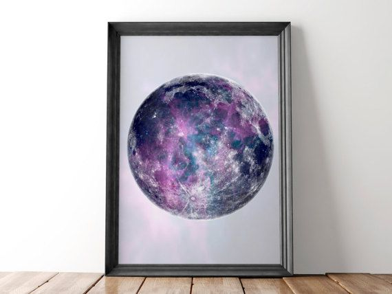 Universe Space Purple Fantasy Photo Poster Space Moon Planet Canvas Pictures
