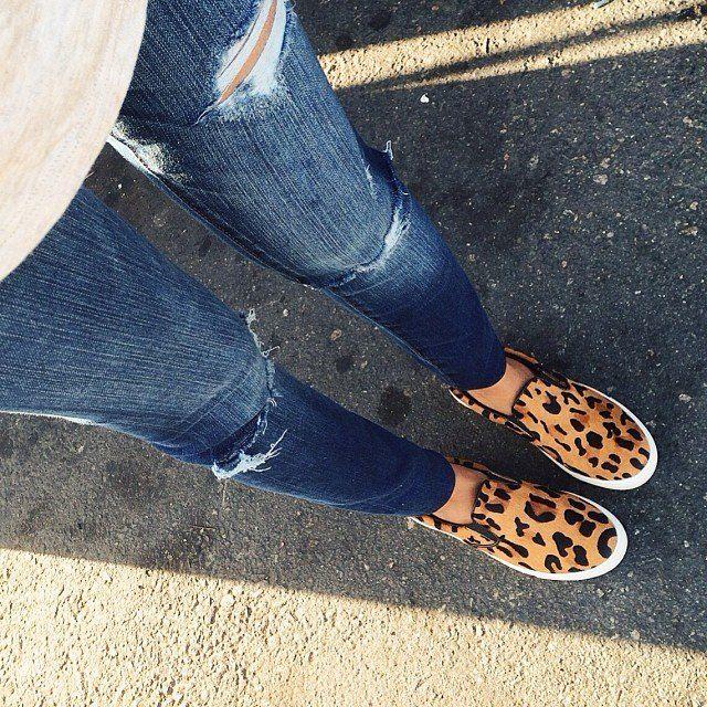 Leopard slip on sneakers, Leopard slip