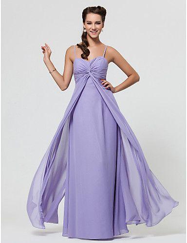 Lavender Sheath/Column Sweetheart Spaghetti Straps Floor-length Chiffon Bridesmaid Dress