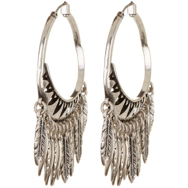 Lucky Brand Feather Chandelier Hoop Earrings 970 Rub Liked On