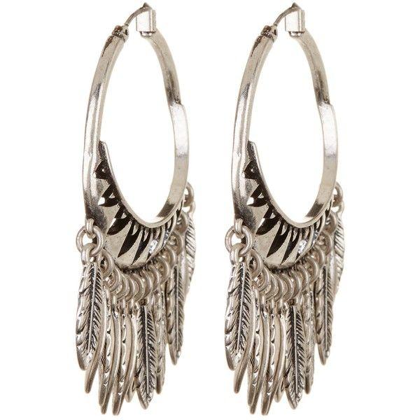 Lucky Brand Feather Chandelier Hoop Earrings 970 Rub Liked On