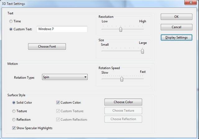 3d Text Screen Saver Settings In Windows 7 Windows Savers Job Images
