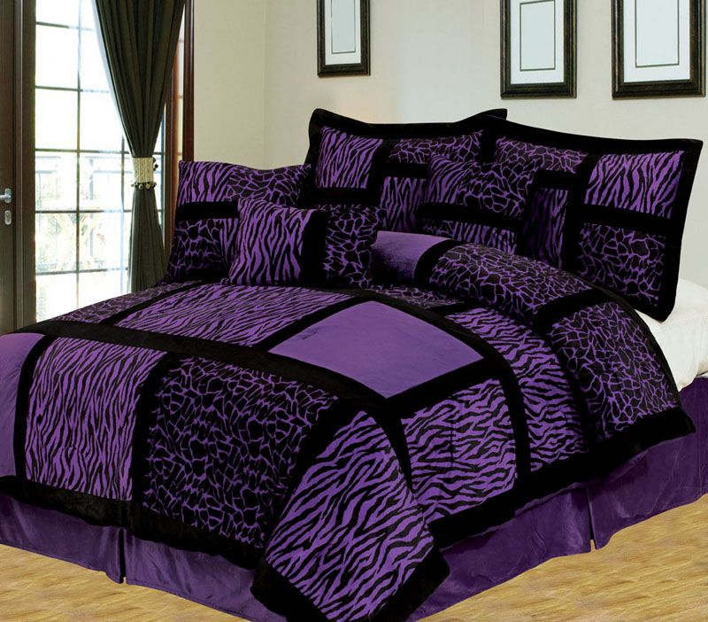 Purple Cal King Comforter Sets | ... Cal King Safari Purple And Black  Patchwork