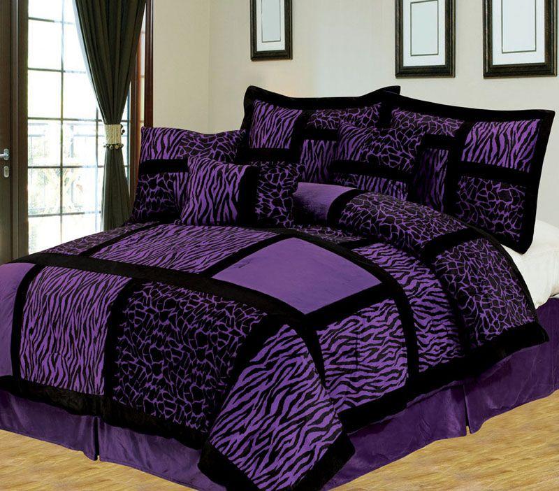 11 Piece Queen Safari Purple And Black Bed In A Bag W 500tc Cotton Sheet Set Purple Bedding Purple Comforter Purple Bedrooms