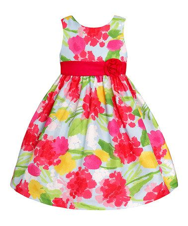 Another great find on #zulily! Red & Green Floral Rosette Dress - Girls #zulilyfinds