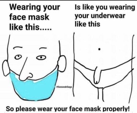 maszk helyes viselésére felhívó vicces kép