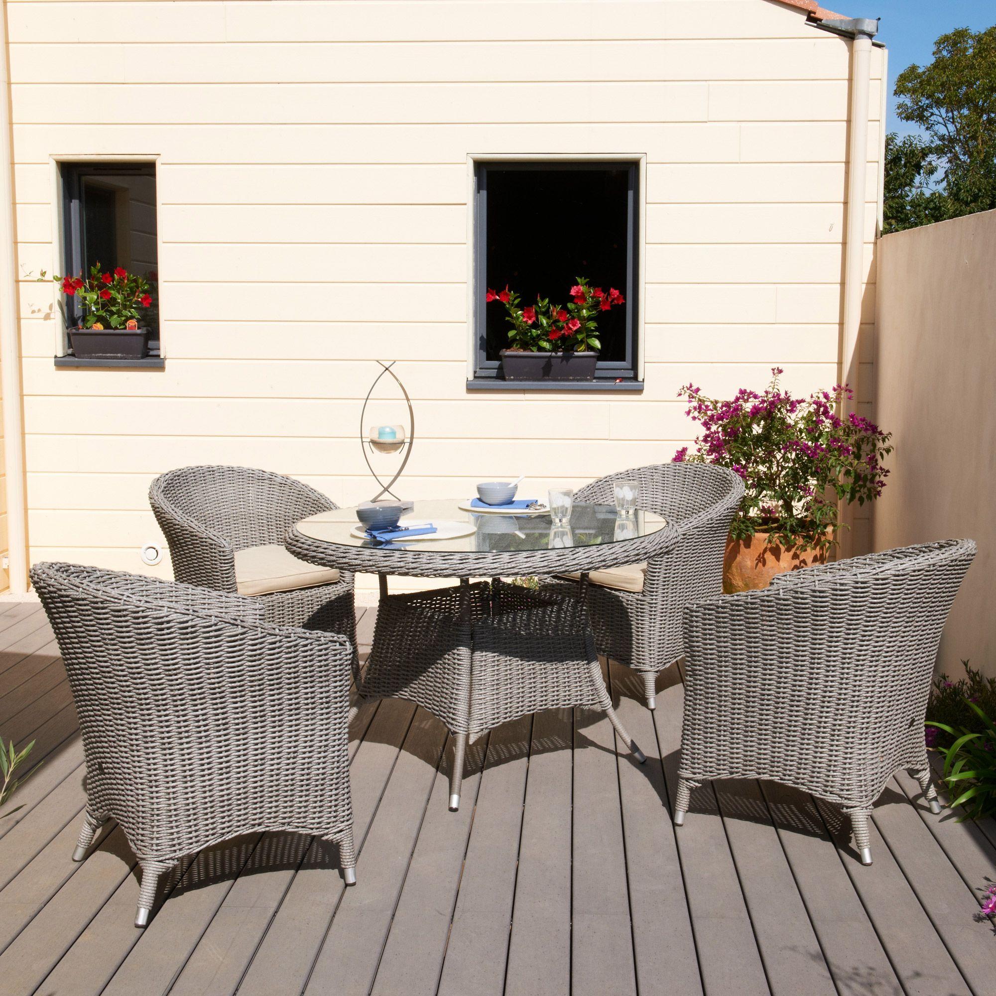 Salon jardin 4 places résine tressée : table ronde + 4 fauteuils ...