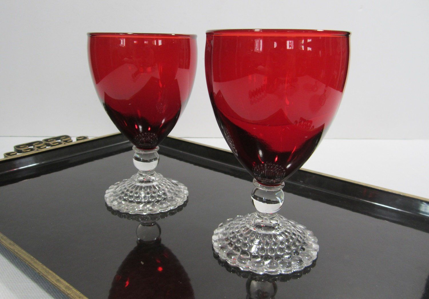 Anchor Hocking 2 Pc Bubble Foot Ruby Red Water Glass Set Glass Set Red Bowl Ruby Red