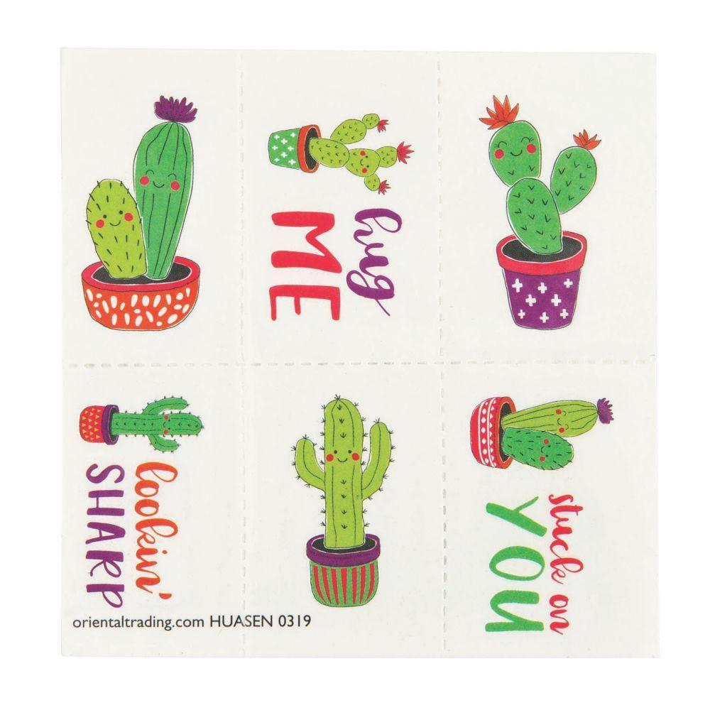 Valentine Cactus Temporary Tattoos Oriental Trading
